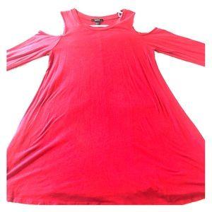 Red cold shoulder dress